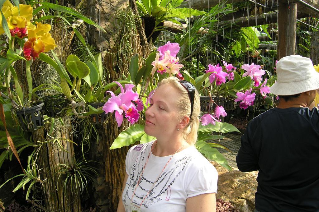 Фото туристов с орхидеями